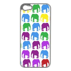 Rainbow Colors Bright Colorful Elephants Wallpaper Background Apple iPhone 5 Case (Silver)