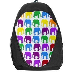Rainbow Colors Bright Colorful Elephants Wallpaper Background Backpack Bag