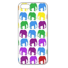 Rainbow Colors Bright Colorful Elephants Wallpaper Background Apple Seamless iPhone 5 Case (Clear)