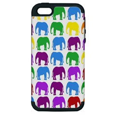 Rainbow Colors Bright Colorful Elephants Wallpaper Background Apple Iphone 5 Hardshell Case (pc+silicone)