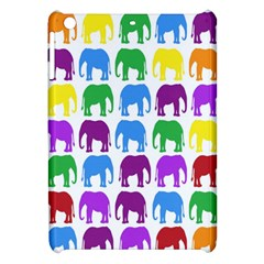 Rainbow Colors Bright Colorful Elephants Wallpaper Background Apple iPad Mini Hardshell Case