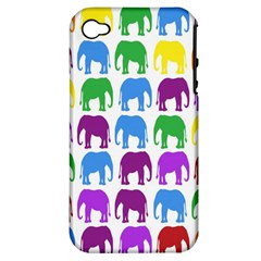 Rainbow Colors Bright Colorful Elephants Wallpaper Background Apple iPhone 4/4S Hardshell Case (PC+Silicone)