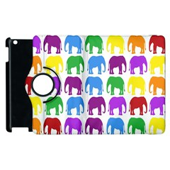 Rainbow Colors Bright Colorful Elephants Wallpaper Background Apple Ipad 3/4 Flip 360 Case