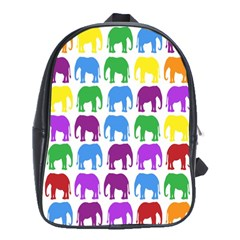 Rainbow Colors Bright Colorful Elephants Wallpaper Background School Bags (XL)