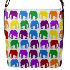 Rainbow Colors Bright Colorful Elephants Wallpaper Background Flap Messenger Bag (S)