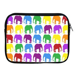 Rainbow Colors Bright Colorful Elephants Wallpaper Background Apple iPad 2/3/4 Zipper Cases