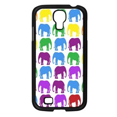 Rainbow Colors Bright Colorful Elephants Wallpaper Background Samsung Galaxy S4 I9500/ I9505 Case (Black)