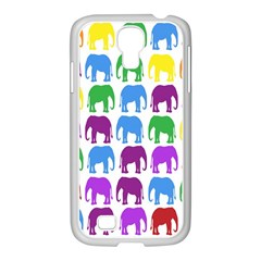 Rainbow Colors Bright Colorful Elephants Wallpaper Background Samsung Galaxy S4 I9500/ I9505 Case (white)