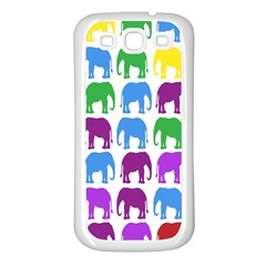 Rainbow Colors Bright Colorful Elephants Wallpaper Background Samsung Galaxy S3 Back Case (White)