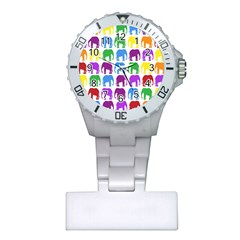 Rainbow Colors Bright Colorful Elephants Wallpaper Background Plastic Nurses Watch