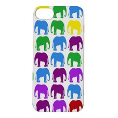 Rainbow Colors Bright Colorful Elephants Wallpaper Background Apple iPhone 5S/ SE Hardshell Case