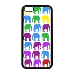 Rainbow Colors Bright Colorful Elephants Wallpaper Background Apple iPhone 5C Seamless Case (Black)
