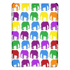 Rainbow Colors Bright Colorful Elephants Wallpaper Background iPad Air Hardshell Cases