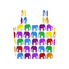 Rainbow Colors Bright Colorful Elephants Wallpaper Background Full Print Recycle Bags (S)