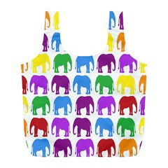 Rainbow Colors Bright Colorful Elephants Wallpaper Background Full Print Recycle Bags (L)