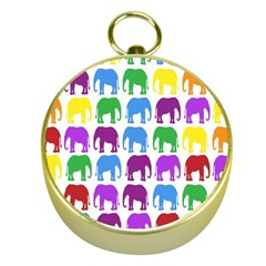 Rainbow Colors Bright Colorful Elephants Wallpaper Background Gold Compasses