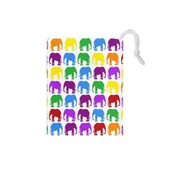Rainbow Colors Bright Colorful Elephants Wallpaper Background Drawstring Pouches (Small)