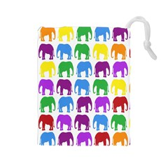 Rainbow Colors Bright Colorful Elephants Wallpaper Background Drawstring Pouches (Large)