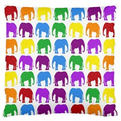 Rainbow Colors Bright Colorful Elephants Wallpaper Background Large Flano Cushion Case (One Side)