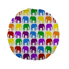 Rainbow Colors Bright Colorful Elephants Wallpaper Background Standard 15  Premium Flano Round Cushions