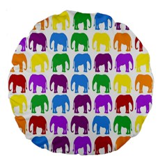 Rainbow Colors Bright Colorful Elephants Wallpaper Background Large 18  Premium Flano Round Cushions