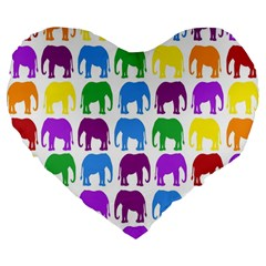 Rainbow Colors Bright Colorful Elephants Wallpaper Background Large 19  Premium Flano Heart Shape Cushions