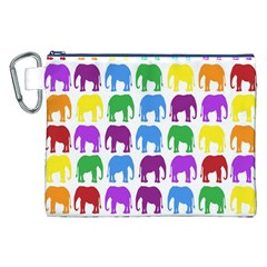 Rainbow Colors Bright Colorful Elephants Wallpaper Background Canvas Cosmetic Bag (XXL)