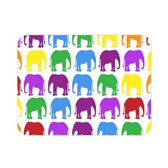 Rainbow Colors Bright Colorful Elephants Wallpaper Background Double Sided Flano Blanket (Mini)