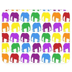 Rainbow Colors Bright Colorful Elephants Wallpaper Background Double Sided Flano Blanket (medium)