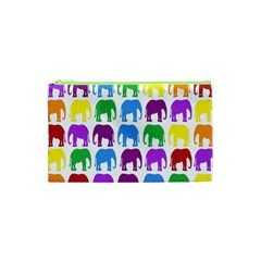 Rainbow Colors Bright Colorful Elephants Wallpaper Background Cosmetic Bag (XS)