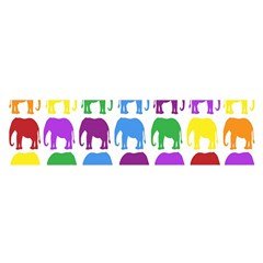 Rainbow Colors Bright Colorful Elephants Wallpaper Background Satin Scarf (Oblong)