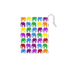 Rainbow Colors Bright Colorful Elephants Wallpaper Background Drawstring Pouches (XS)