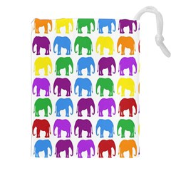 Rainbow Colors Bright Colorful Elephants Wallpaper Background Drawstring Pouches (XXL)