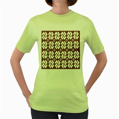Art Abstract Background Pattern Women s Green T Shirt