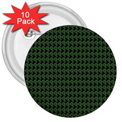 Clovers On Black 3  Buttons (10 pack)