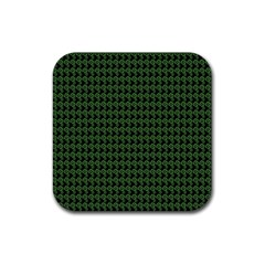 Clovers On Black Rubber Coaster (Square)