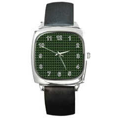 Clovers On Black Square Metal Watch