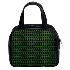 Clovers On Black Classic Handbags (2 Sides)