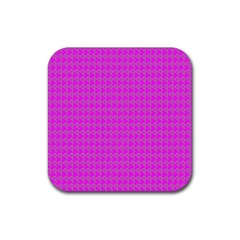 Clovers On Pink Rubber Coaster (Square)