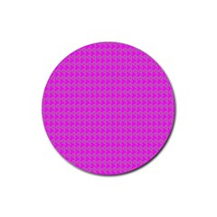 Clovers On Pink Rubber Round Coaster (4 pack)