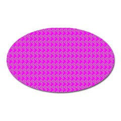 Clovers On Pink Oval Magnet