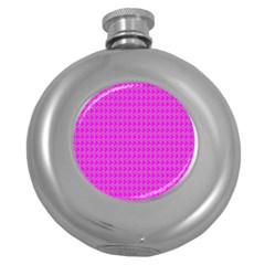 Clovers On Pink Round Hip Flask (5 oz)