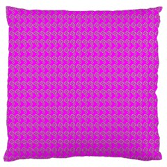 Clovers On Pink Large Flano Cushion Case (Two Sides)