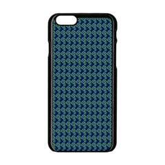 Clovers On Dark Blue Apple iPhone 6/6S Black Enamel Case