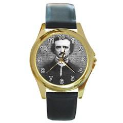 Edgar Allan Poe  Round Gold Metal Watch