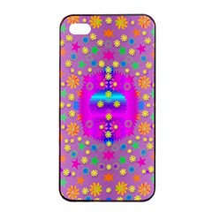 Colors And Wonderful Flowers On A Meadow Apple iPhone 4/4s Seamless Case (Black)