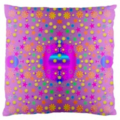Colors And Wonderful Flowers On A Meadow Large Flano Cushion Case (Two Sides)
