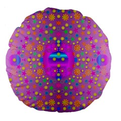 Colors And Wonderful Flowers On A Meadow Large 18  Premium Flano Round Cushions