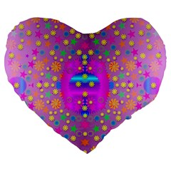 Colors And Wonderful Flowers On A Meadow Large 19  Premium Flano Heart Shape Cushions