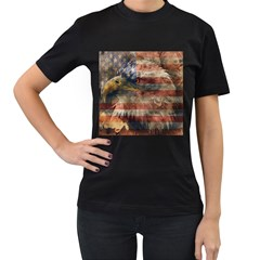 Vintage Eagle  Women s T-Shirt (Black) (Two Sided)